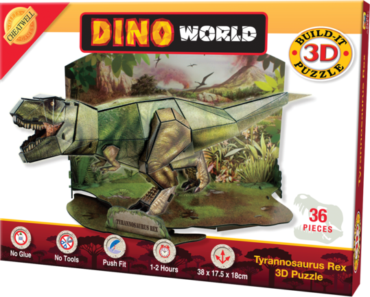 Build a scale model of a T-rex with no glue and no mess! 36 piece 3D cardboard jigsaw