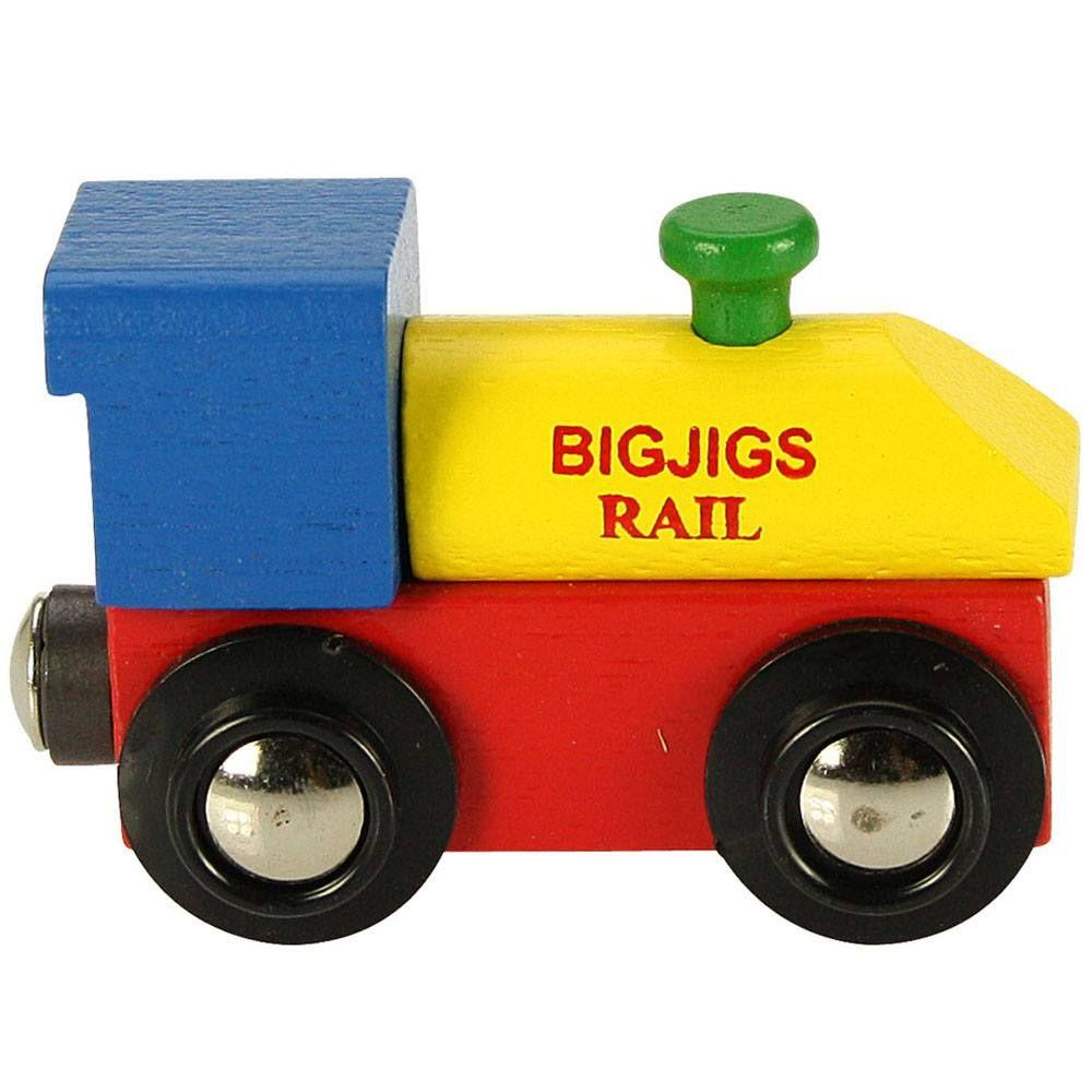 Wooden engine in primary colours to pull personalised letter carriages.