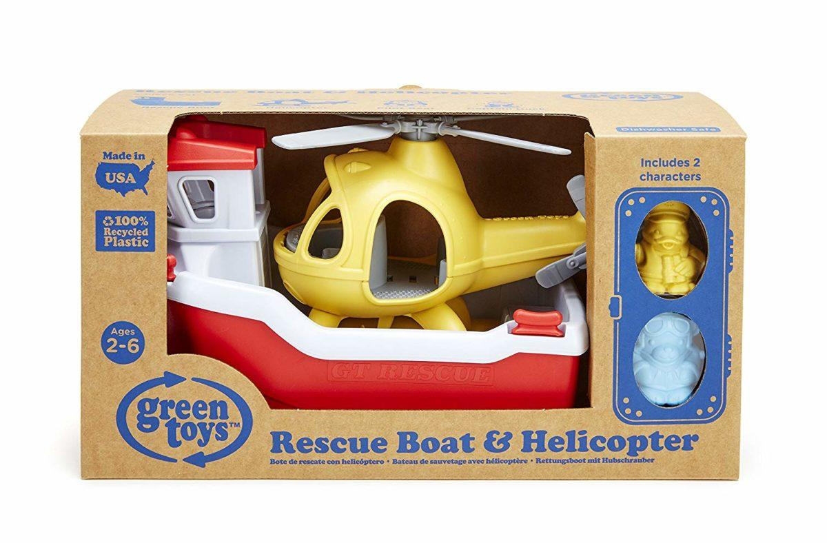 Red Boat and helicopter in manufacturer's packaging.