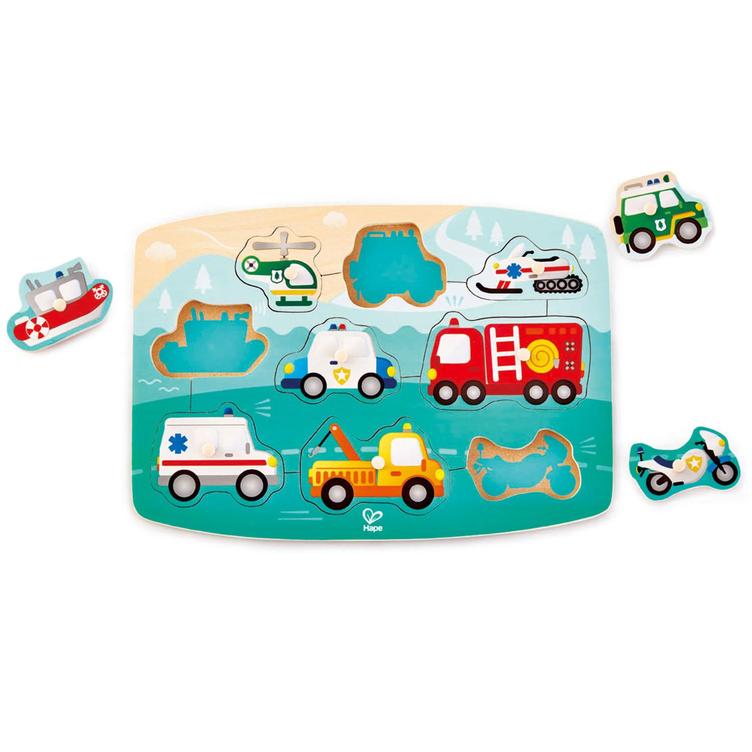 Emergency-services themed children's wooden puzzle with some of the vehicles at the side.