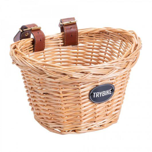 Wicker basket with Trybike logo for the front of a Trybike.