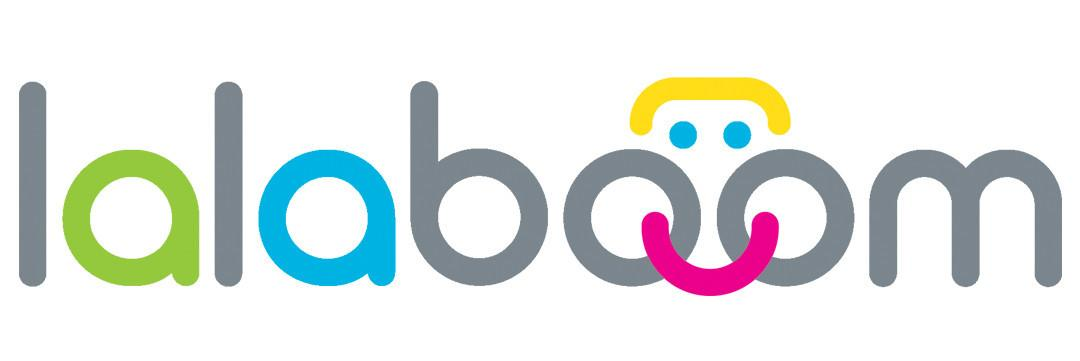 Lalaboom logo written in colourful letters on a white background.