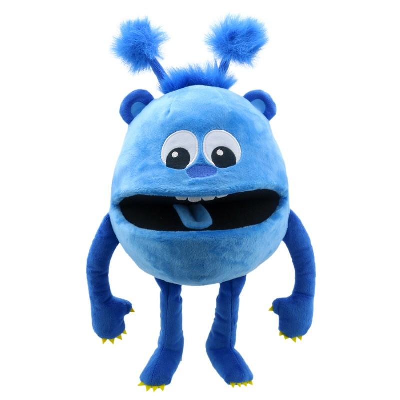 Cute, blue monster hand puppet