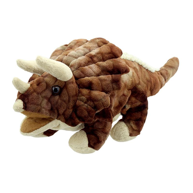 Brown Triceratops hand puppet