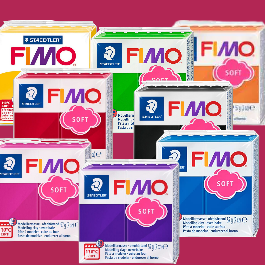 Different coloured packs of FIMO modelling clay one in front of the other.