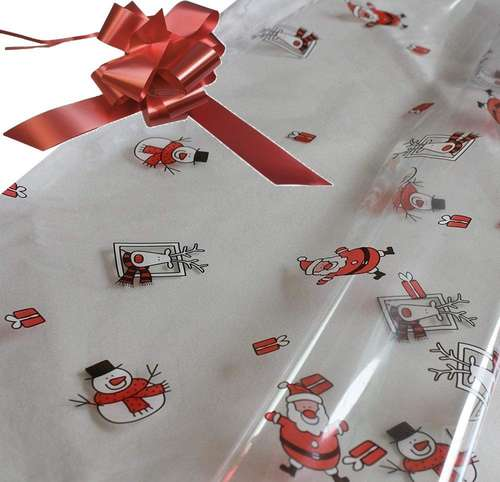 burgundy hamper wrapping kit cellophane wrap santa