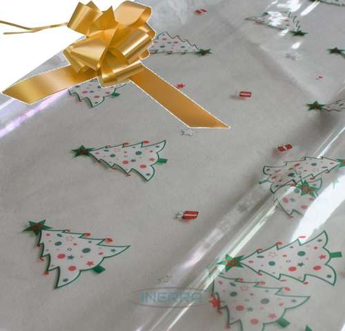 gold hamper wrapping kit christmas trees cellophane wrap