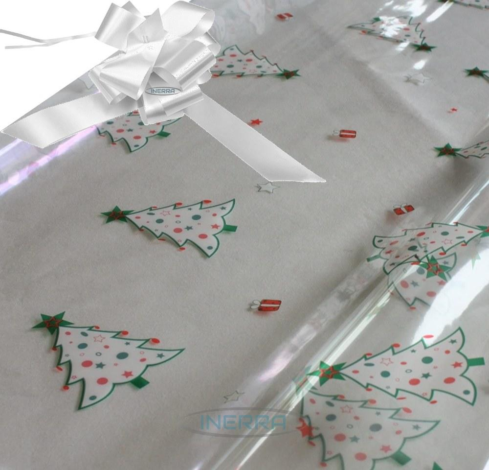 white hamper wrapping kit christmas trees cellophane wrap