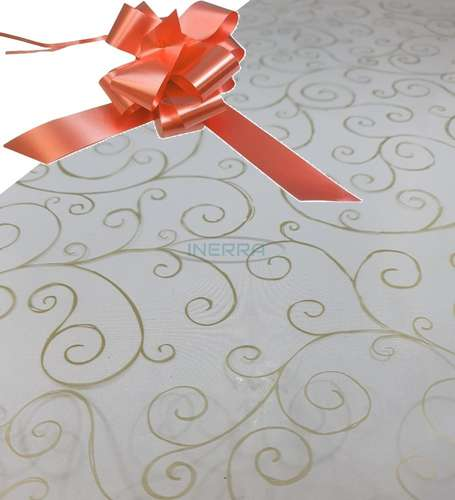 peach  hamper wrap kit cellophane bow wrapping gold scroll