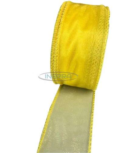 yellow wired edge organza ribbon