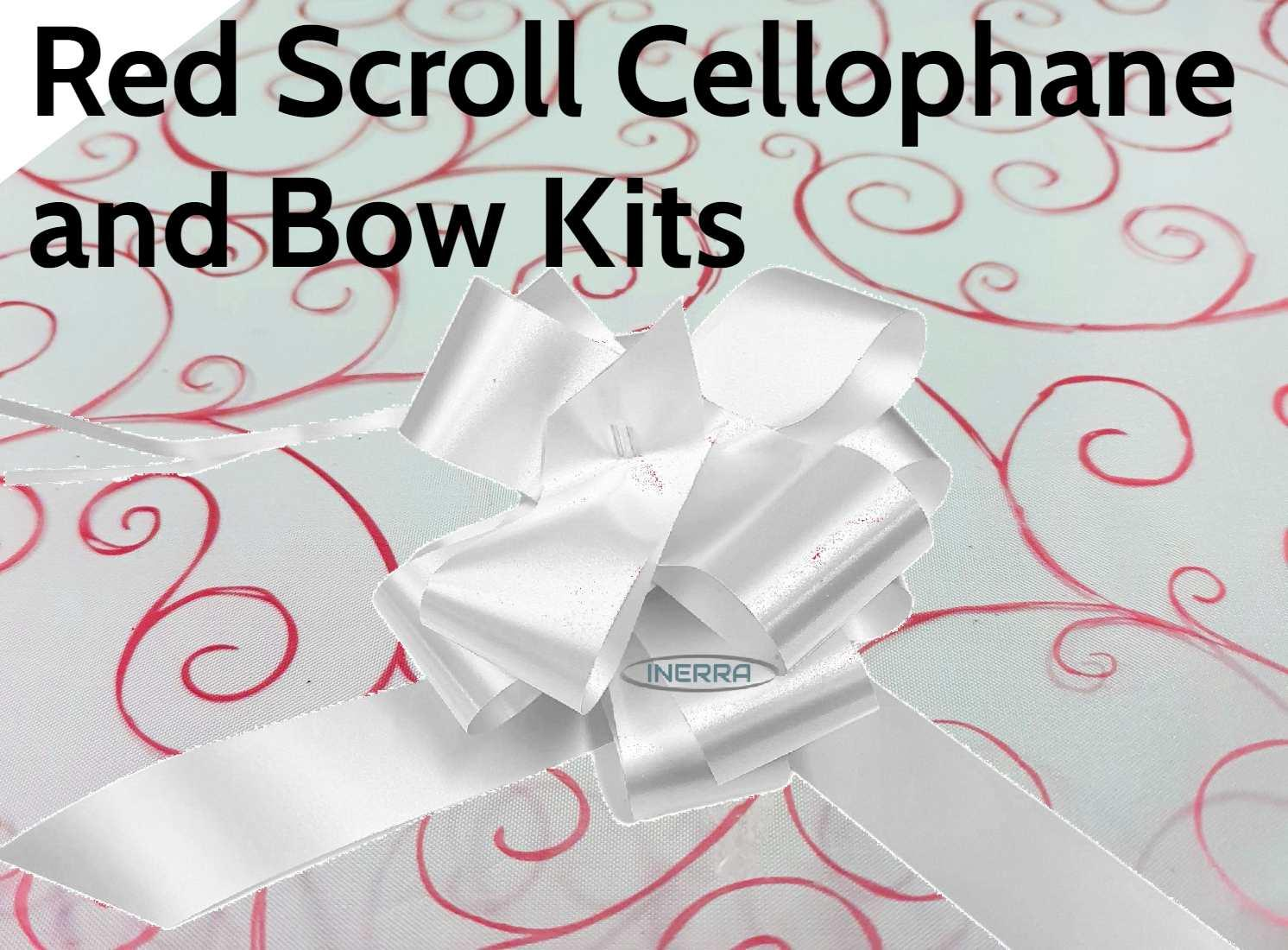 red scroll cellophane wrap hamper christmas