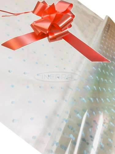 peach blue dot cellophane baby shower gifts hamper basket wrapping cellophane and bow