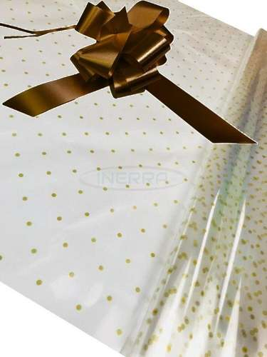 brown Hamper Cellophane and Large Aqua Bow for Wrapping Hampers