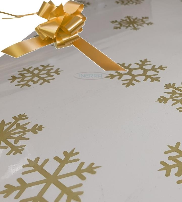 gold christmas cellophane wrap for hampers snowflakes bow