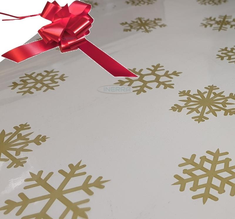 red christmas cellophane wrap for hampers snowflakes bow