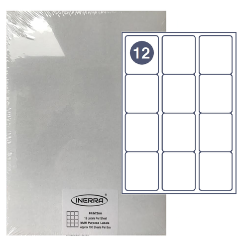 12 per sheet blank labels