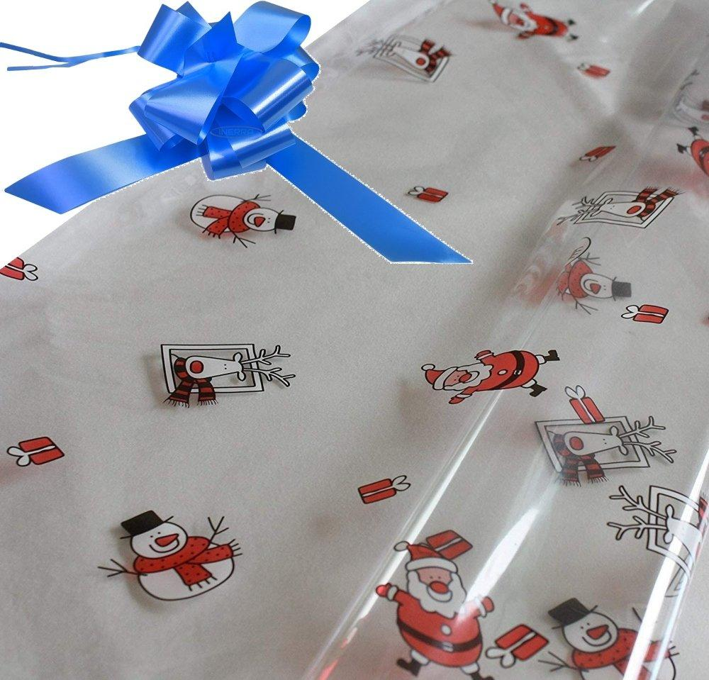 mid blue hamper wrapping kit cellophane wrap santa
