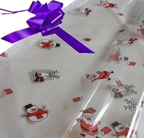purple hamper wrapping kit cellophane wrap santa