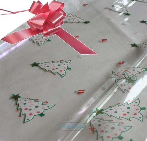 hamper wrapping kit christmas trees cellophane wrap baby pink