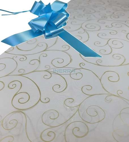 baby blue  hamper wrap kit cellophane bow wrapping gold scroll