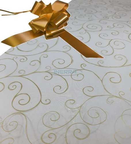 copper  hamper wrap kit cellophane bow wrapping gold scroll