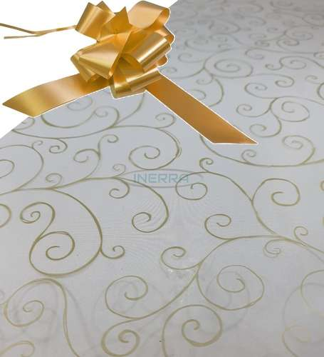 gold  hamper wrap kit cellophane bow wrapping gold scroll