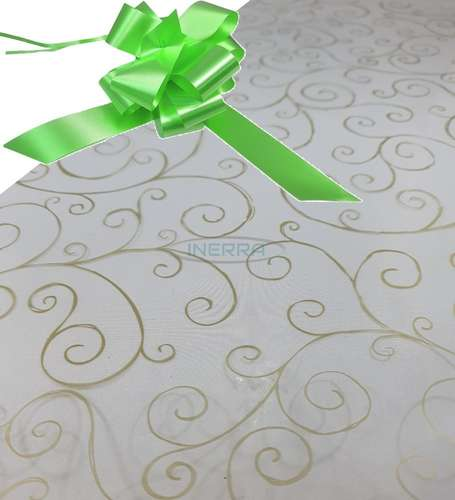 lime green  hamper wrap kit cellophane bow wrapping gold scroll