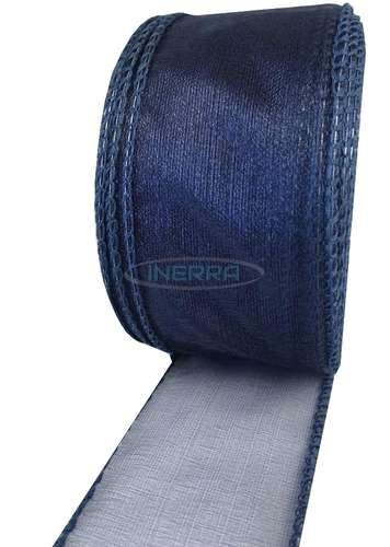 navy blue wired edge organza ribbon