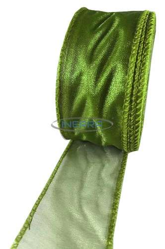 moss green wired edge organza ribbon