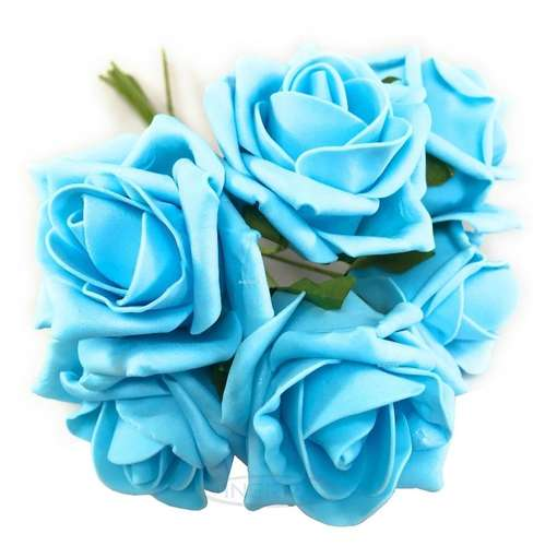 baby blue colourfast foam roses