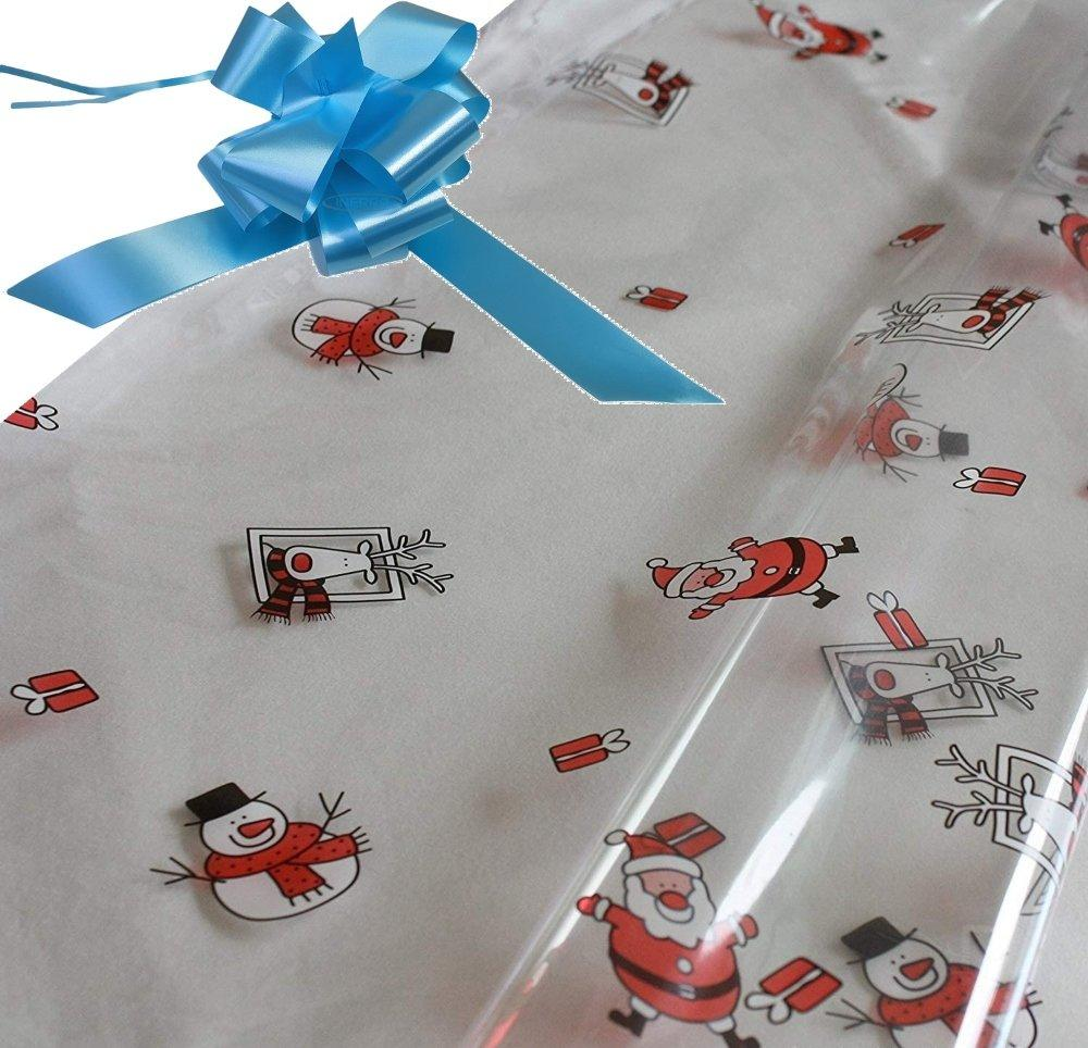 hamper wrapping kit cellophane wrap santa baby blue