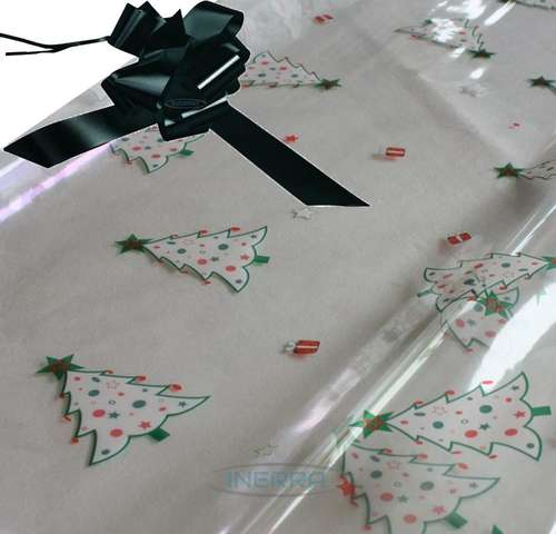 black hamper wrapping kit christmas trees cellophane wrap