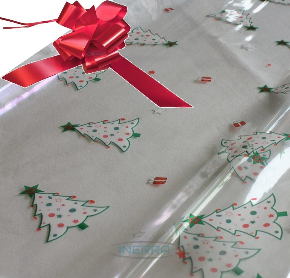 red hamper wrapping kit christmas trees cellophane wrap