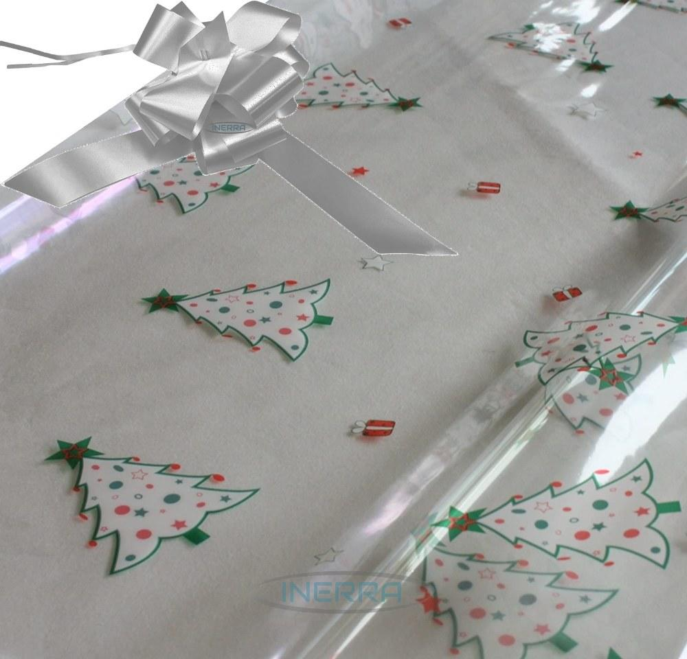 silver hamper wrapping kit christmas trees cellophane wrap