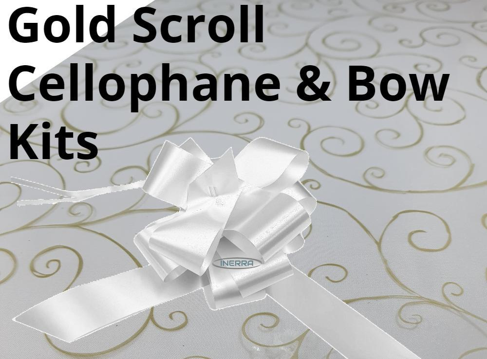 hamper wrapping kit gold scroll cellophane wrap bow