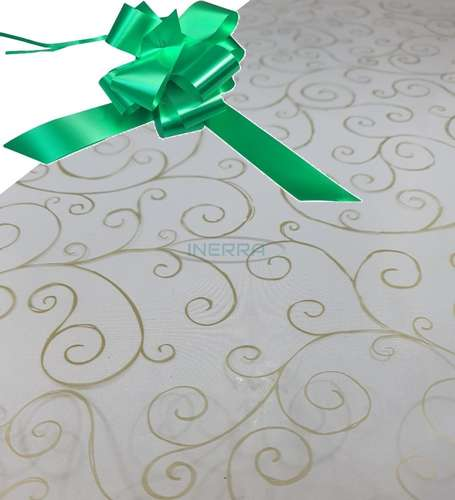 emerald green  hamper wrap kit cellophane bow wrapping gold scroll