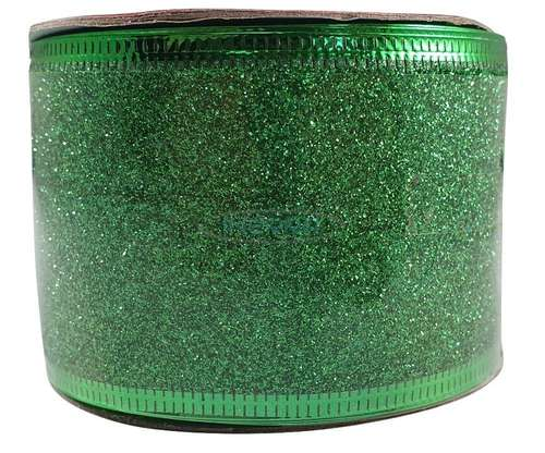 emerald green christmas glitter ribbon