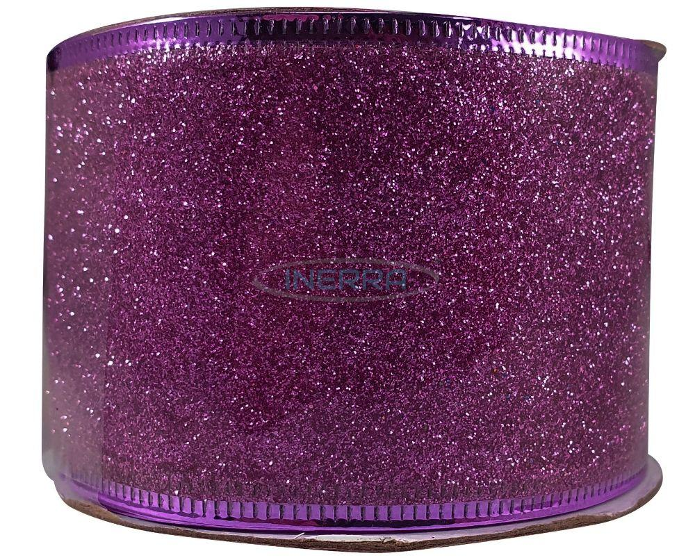purple ribbon for christmas trees glitter