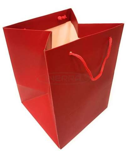 red christmas gift bags rope handles present