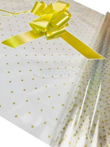 lemon Hamper Cellophane and Large Aqua Bow for Wrapping Hampers