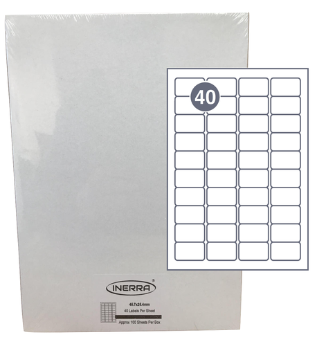 40 per sheet blank labels