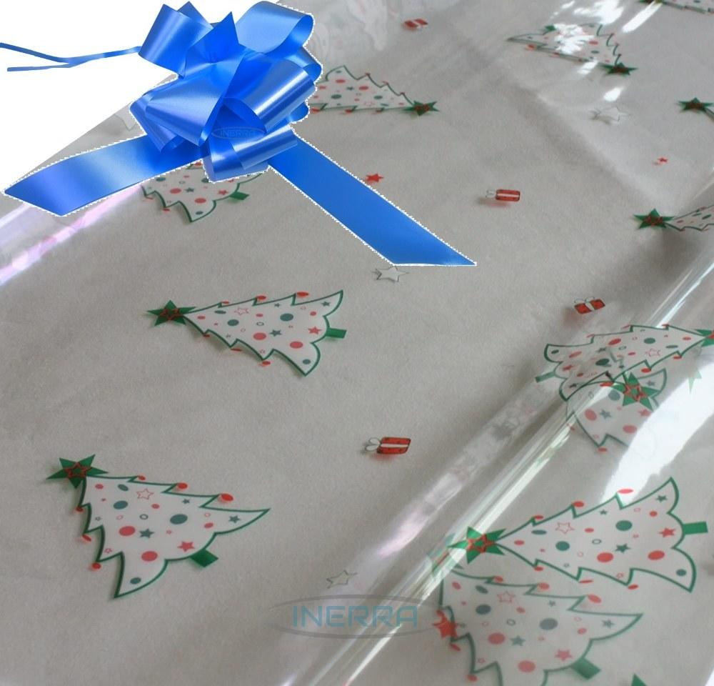 mid blue hamper wrapping kit christmas trees cellophane wrap
