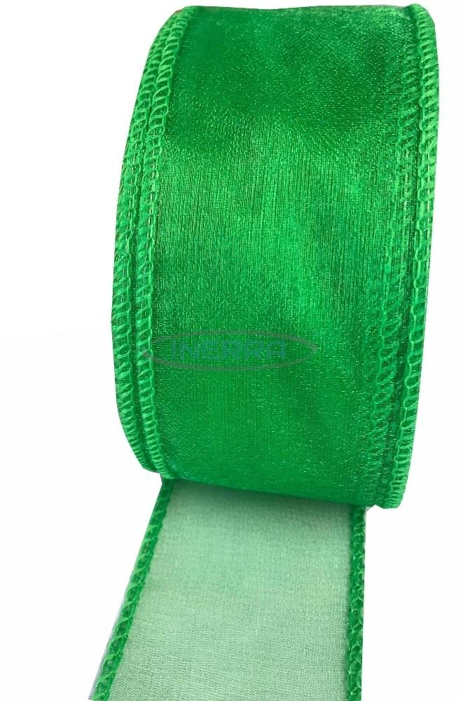emerald green wired edge ribbon organza