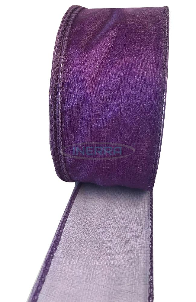 plum wired edge ribbon organza
