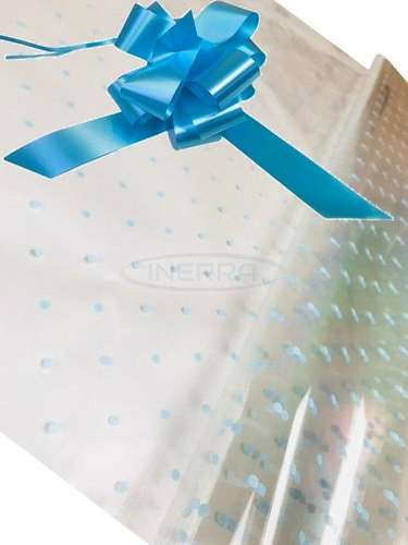 blue dot cellophane baby shower gifts hamper basket wrapping cellophane and bow blue