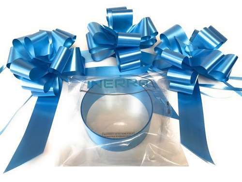 mid blue wedding car decoration kit ribbon and bows