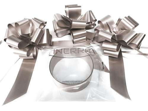 silver wedding car decoration kit ribbon and bows