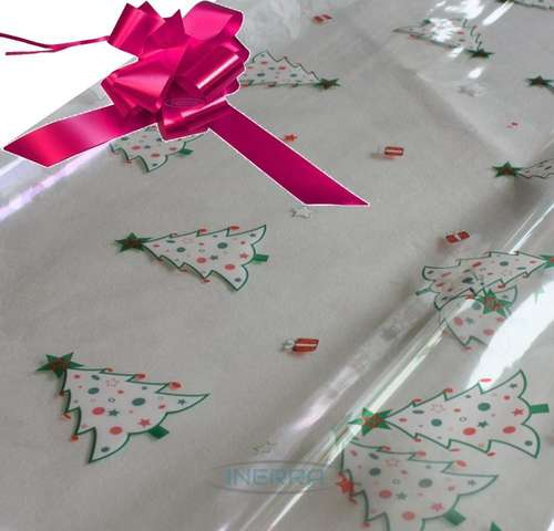 cerise hamper wrapping kit christmas trees cellophane wrap