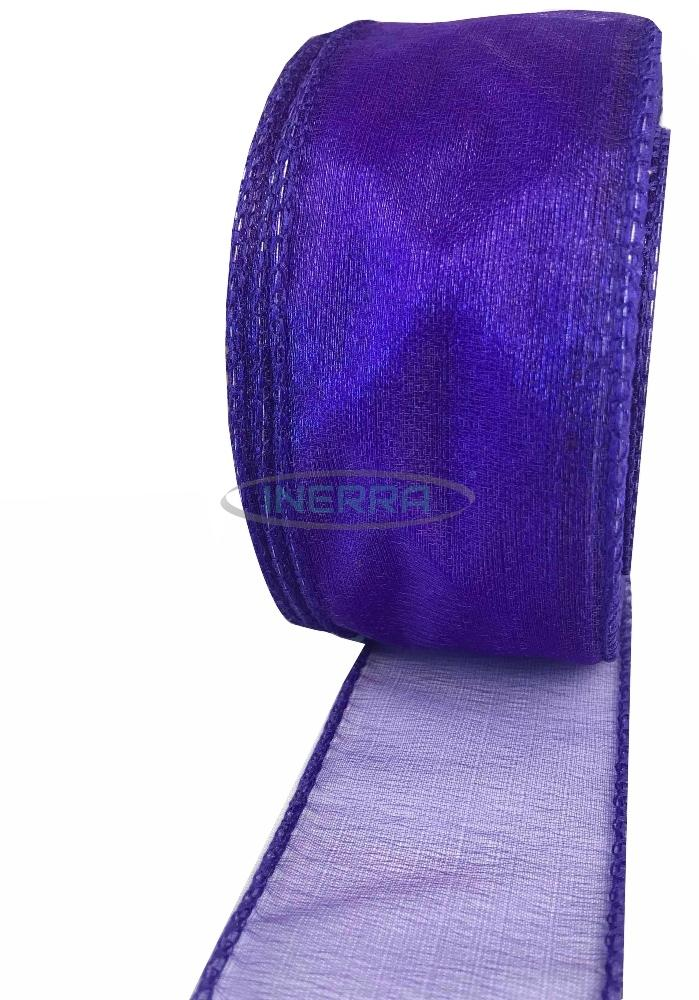 purple wired edge organza ribbon