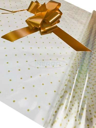 gold Hamper Cellophane and Large Aqua Bow for Wrapping Hampers